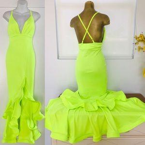 CAROLINA Neon MERMAID Wiggle RUFFLE DRESS NWOT S
